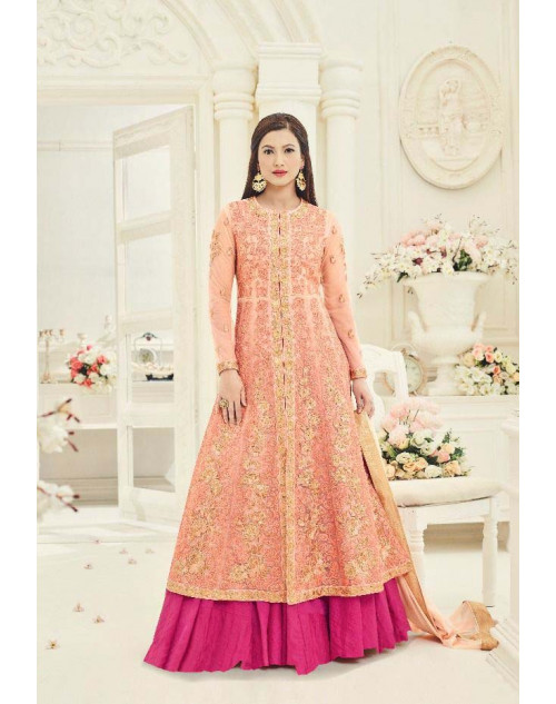 Gauhar Khan Salmon Heavy Net Gown Cum Dress Materials