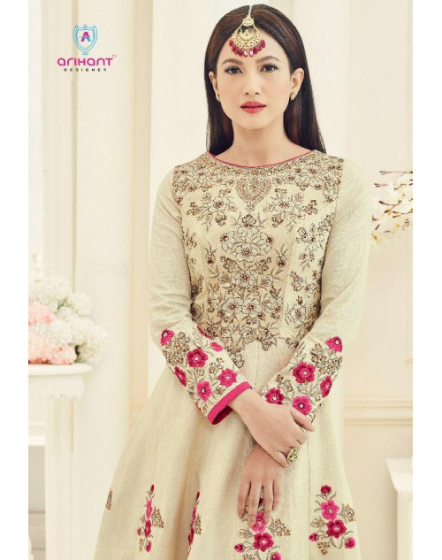 Gauhar Khan Moccasin Slub Silk with Fusing Gown Cum Dress Materials
