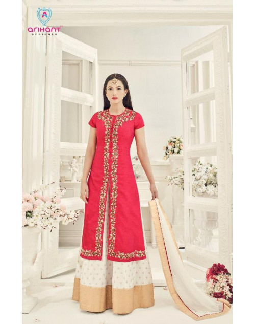 Gauhar Khan Red Two Tone Silk Gown Cum Dress Materials