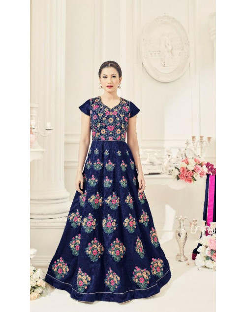 Gauhar Khan NavyBlue Slub Silk Gown Cum Dress Materials