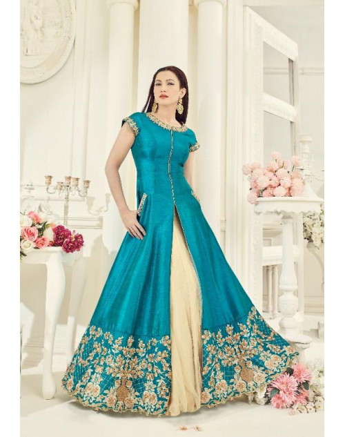 Gauhar Khan Aqua Two Tone Silk Lehengas Cum Dress Materials