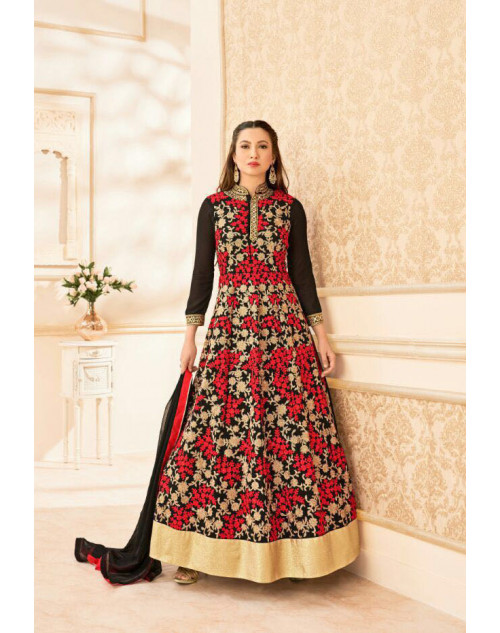 Gauhar Khan Red And Black Faux Georgette Wedding Floor Length Suit