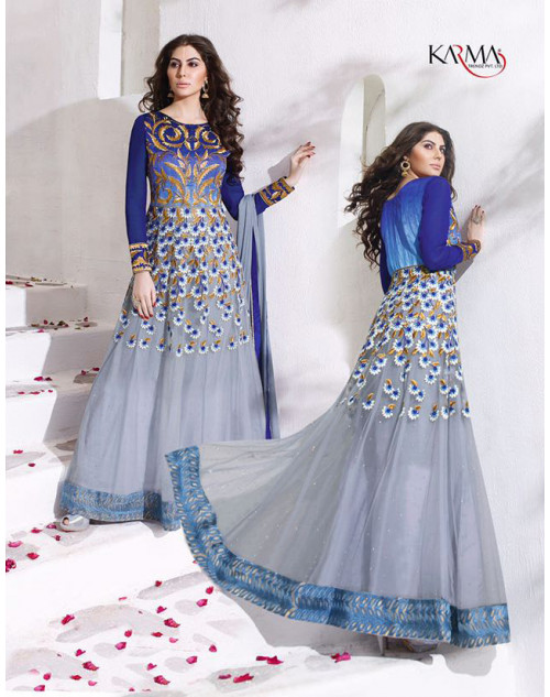 Latest Designer Grey And Blue Net Embroidered Floor Length Anarkali