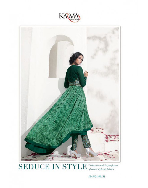 Latest Designer SeaGreen Satin Georgette Floor Length Anarkali