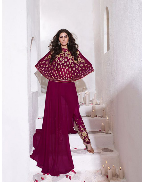 Latest Designer Light Violet Georgette Indo Western Embroidered Floor Length Anarkali