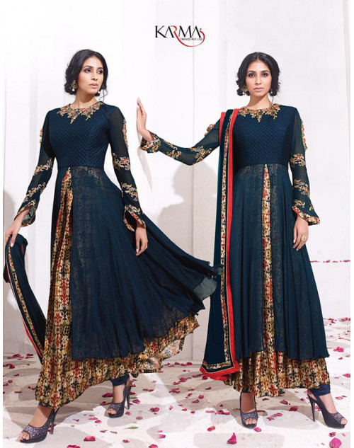 Latest Designer Blue Georgette Embroidered Floor Length Anarkali