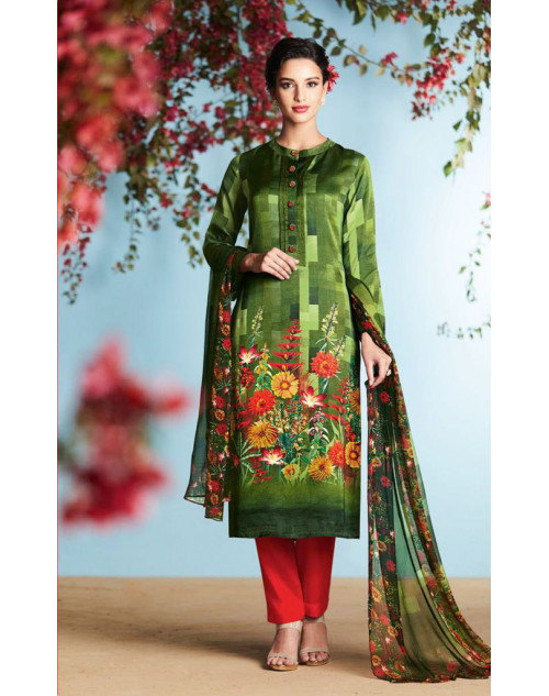 Green And Multi Pure Georgette Satin Salwar Suit