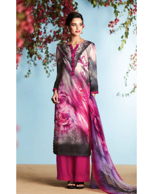 DeepPink And Multi Pure Georgette Satin Salwar Suit