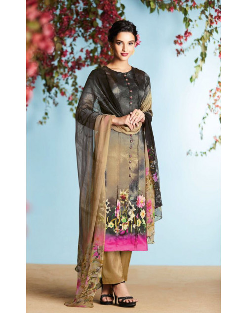Black And Multi Pure Georgette Satin Salwar Suit