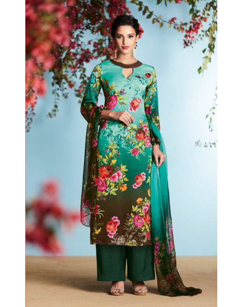 Aqua And Multi Pure Georgette Satin Salwar Suit