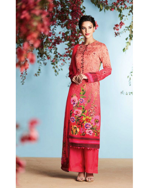 Tomato And Multi Pure Georgette Satin Salwar Suit