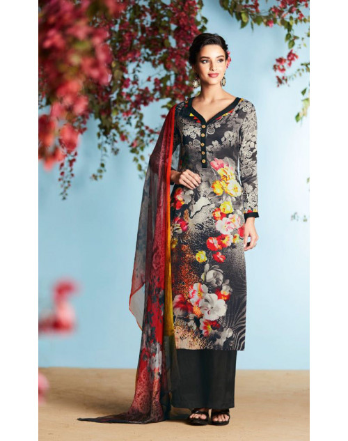 Grey And Multi Pure Georgette Satin Salwar Suit