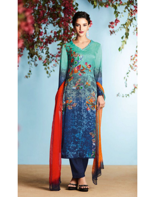 Blue And Multi Pure Georgette Satin Salwar Suit