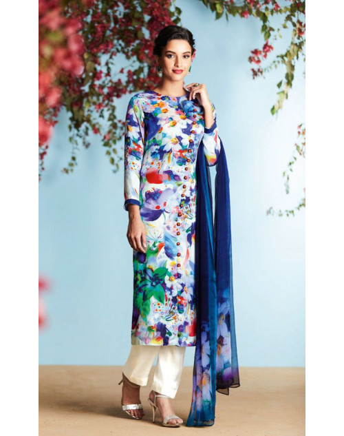 Off-white And Multi Pure Georgette Satin Salwar Suit