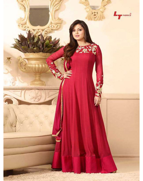 Madhubala as Drashti Dhami Red Designer Georgette Dress Materials