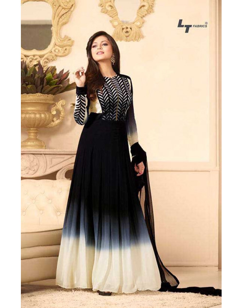 Madhubala as Drashti Dhami Black Designer Georgette Dress Materials