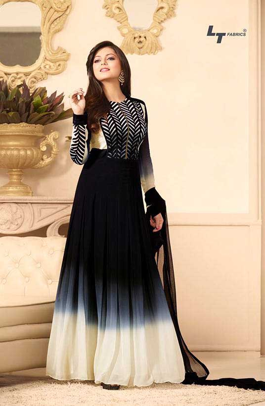 5651478262 Click on Photo. Sale Madhubala as Drashti Dhami Black Designer Georgette  Dress Materials