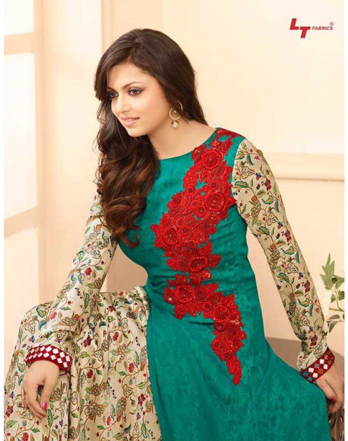 Madhubala as Drashti Dhami Green And Multi Designer Georgette Dress Materials