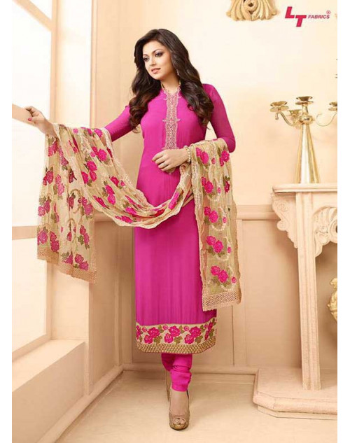 Madhubala as Drashti Dhami Pink Designer Georgette Dress Materials