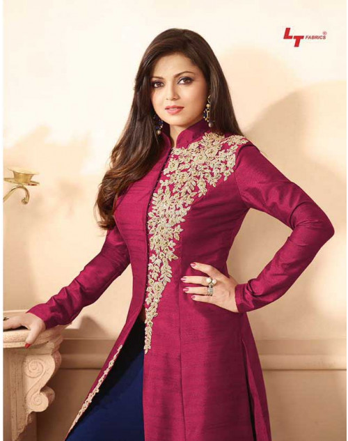 Madhubala as Drashti Dhami Maroon And Blue Designer Banglori Silk Dress Materials