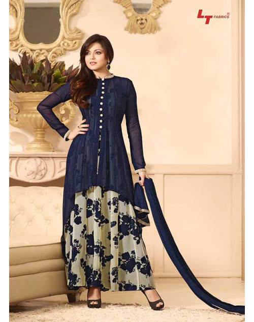 Madhubala as Drashti Dhami Blue Designer Georgette Dress Materials