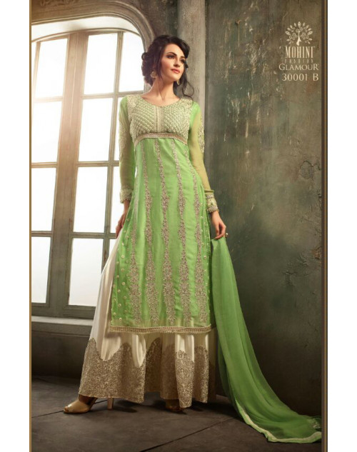 Designer Light Green Pure Chiffon Salwar Kameez