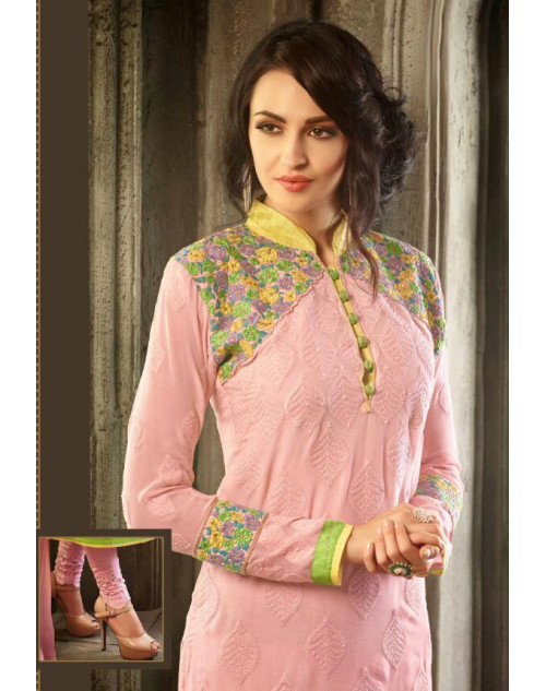 Designer Light Pink Viscos Georgette Salwar Kameez