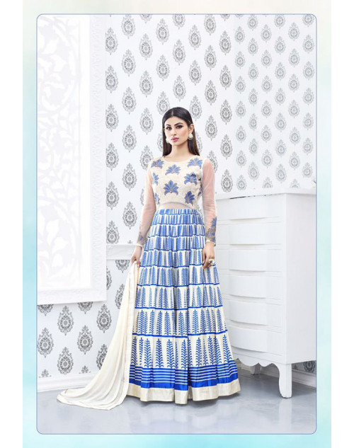 Mouni Roy White And SkyBlue Designer Semi Georgette Salwar Kameez