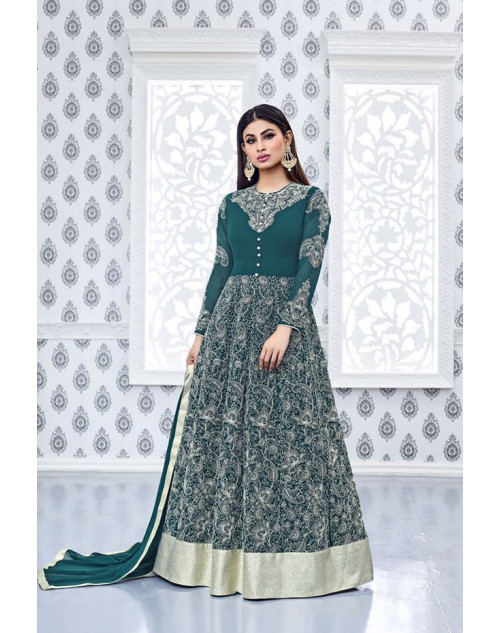 Mouni Roy Green Faux Georgette Embroidery Designer Salwar Kameez