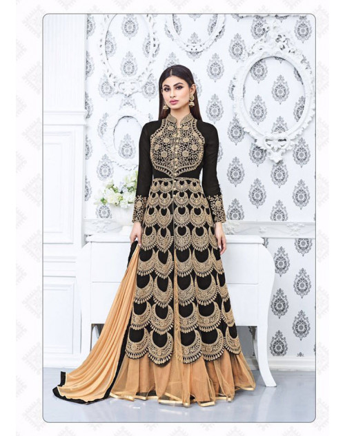 Mouni Roy Black Faux Georgette Embroidery Designer Lehenga