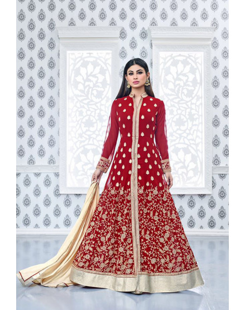 Mouni Roy Red Faux Georgette Embroidery Designer Salwar Kameez