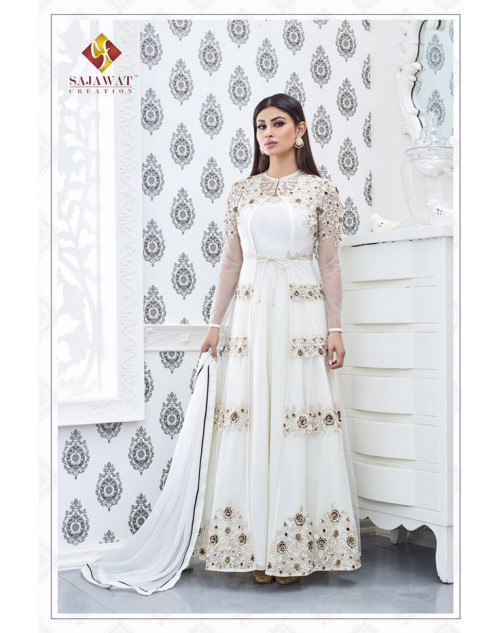 Mouni Roy White Faux Georgette Embroidery Designer Salwar Kameez