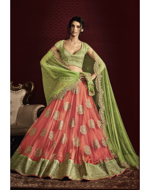 Designer Light Green And Peach Embroidered Lehenga Choli