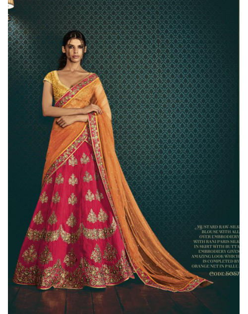 Designer Orange Embroidered Lehenga Choli