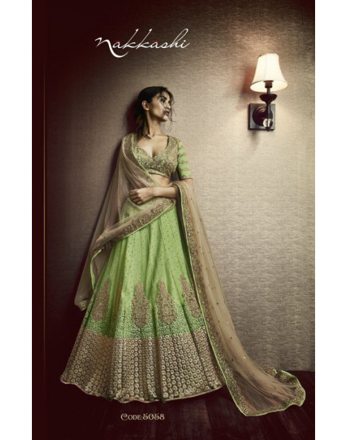 Designer Light Green And Beige Embroidered Lehenga Choli