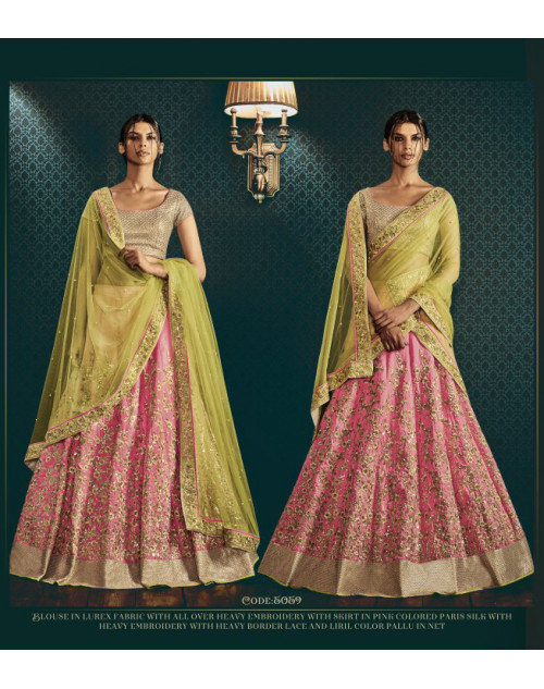 Designer Olive And Pink Embroidered Lehenga Choli