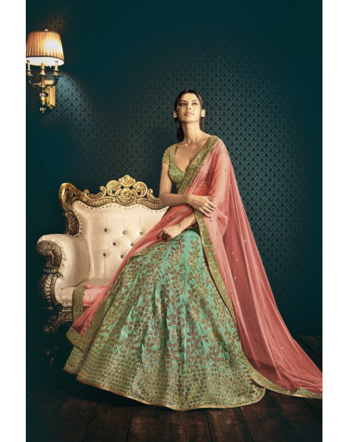Designer SeaGreen Embroidered Lehenga Choli