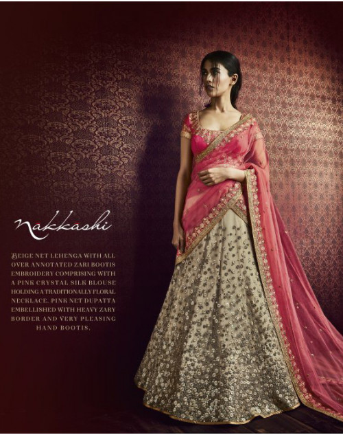 Designer Pink And Beige Embroidered Lehenga Choli