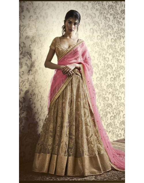 Designer Beige Embroidered Lehenga Choli