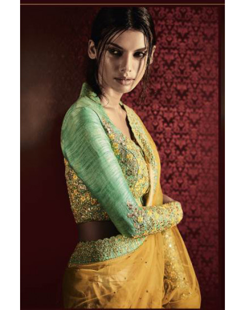 Designer Yellow And LightGreen Embroidered Lehenga Choli