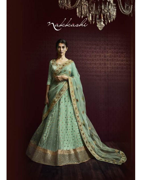 Designer Aquamarine Embroidered Lehenga Choli