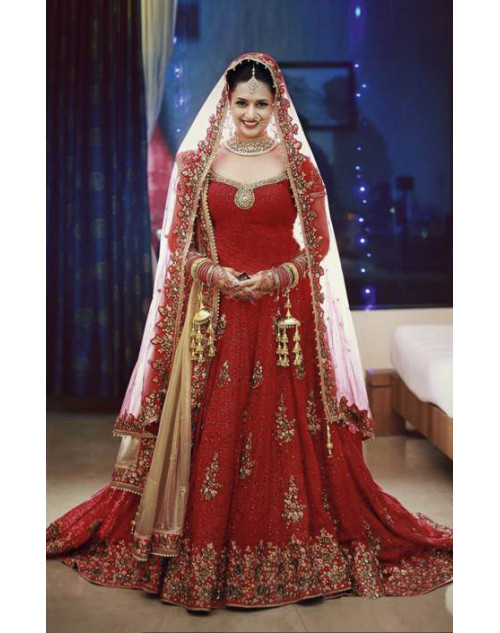 Designer Red Embroidered Lehenga Choli