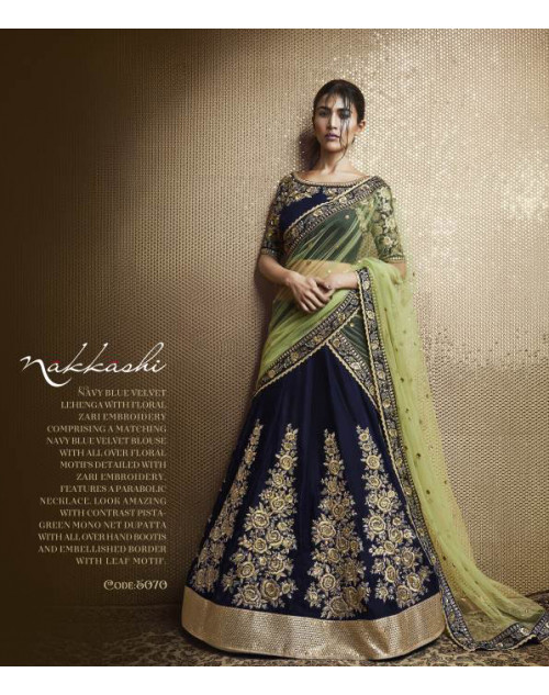 Designer NavyBlue Embroidered Lehenga Choli