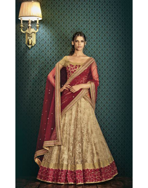 Designer Maroon And Beige Embroidered Lehenga Choli