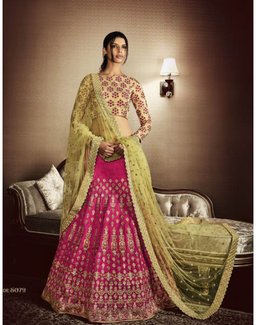 Designer Beige And Pink Embroidered Lehenga Choli