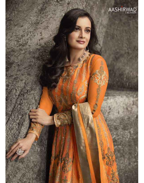 Dia Mirza Latest Coral Festival Mulberry Silk Salwar Kameez
