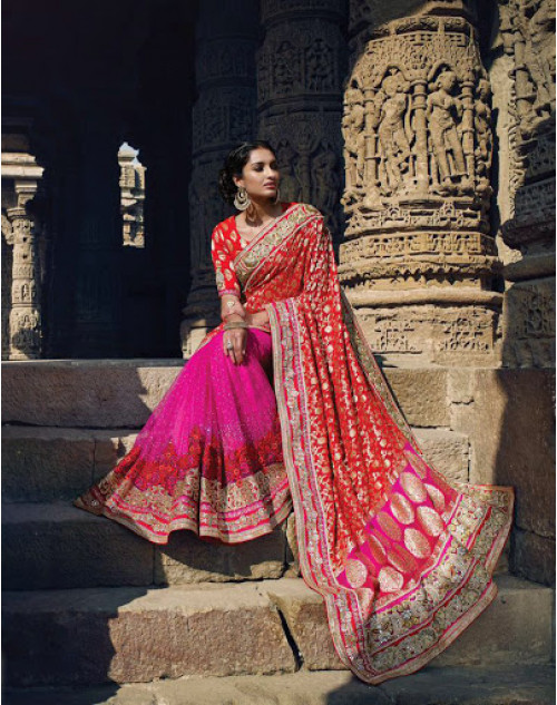 Pink And Red Designer Net Party Saree