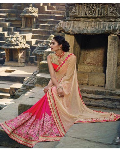 Pink And Beige Designer Net Party Saree