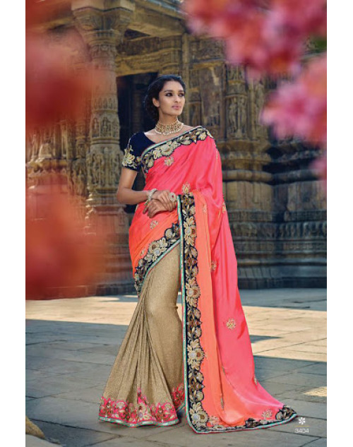 Beige And Peach Designer Lycra Party Saree