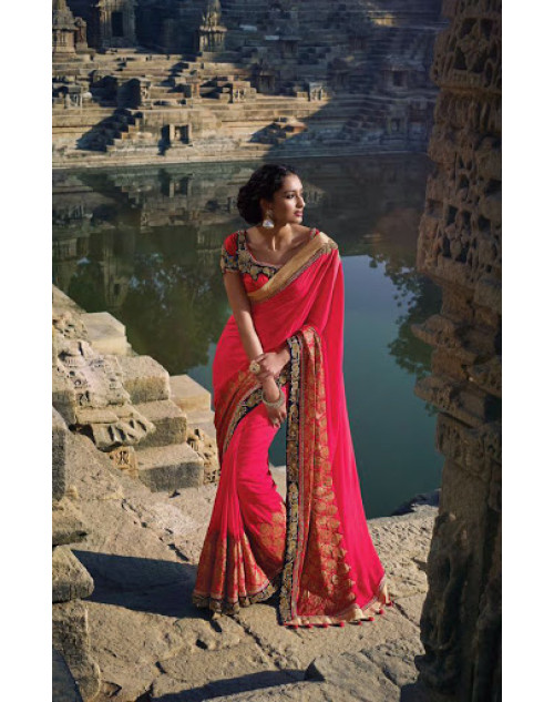 Red Designer Silk Party Saree